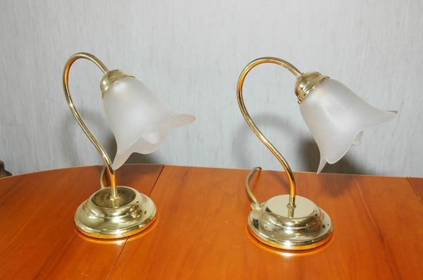2x Romantische Nachttischlampen Messingfarben Mit