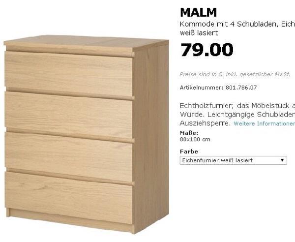 3 kommode von ikea malm in m nchen ikea m bel kaufen und verkaufen ber private kleinanzeigen. Black Bedroom Furniture Sets. Home Design Ideas