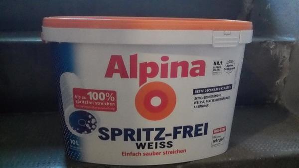 alpina spritzfrei weiss innenfarbe 10 l original nur 35 00. Black Bedroom Furniture Sets. Home Design Ideas