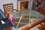 Ausziehbarer Glas-Esstisch