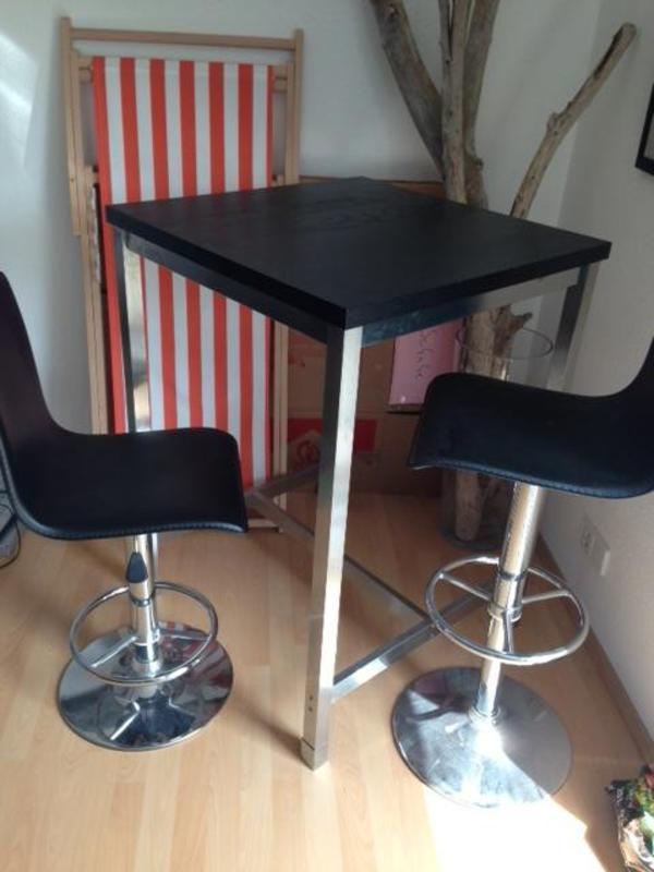 bartisch braun schwarz edelstahl beine 2 barhocker in karlsruhe ikea m bel kaufen und. Black Bedroom Furniture Sets. Home Design Ideas