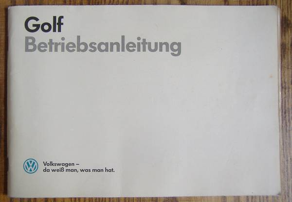 Bedienungsanleitung VW Golf &raquo; Literatur, Betriebsanleitungen