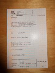 DB Bahnticket / Fahrkarte