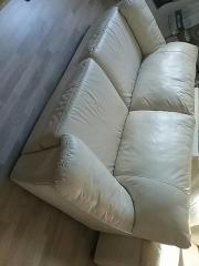 Echtleder Couch beige