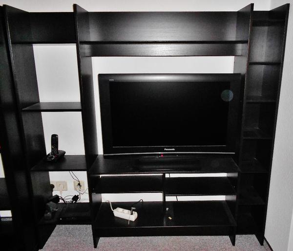 fernsehregal fernsehschrank lappland ikea schwarz mit viel stauraum und f chern in rutesheim. Black Bedroom Furniture Sets. Home Design Ideas