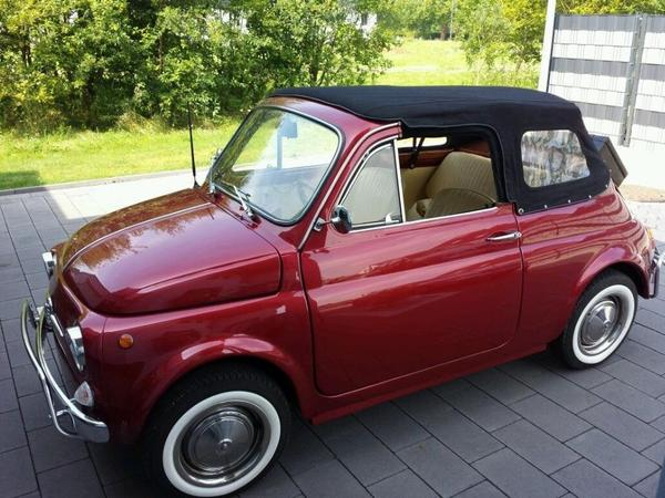 voiture fiat 500 cabrio top restauriert occasion de 1969. Black Bedroom Furniture Sets. Home Design Ideas