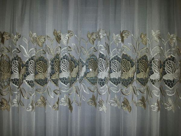 f r 4 fenster gardinen b gelfrei beige braun in. Black Bedroom Furniture Sets. Home Design Ideas