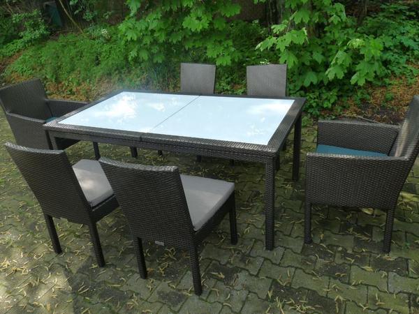 Gartenmobel Rattan Toom : Ausziehtisch aus hochwertiger, wetterfester Kunststofffaser, Aluminium