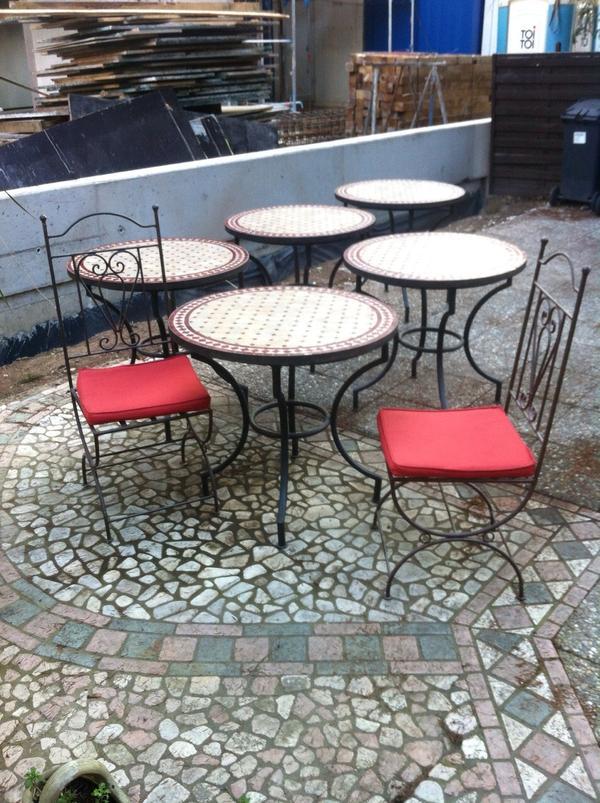 gastro biergarten terrassen eis cafe m bel 5 tische 16 st hle mosaik eisen restaurant garten in. Black Bedroom Furniture Sets. Home Design Ideas