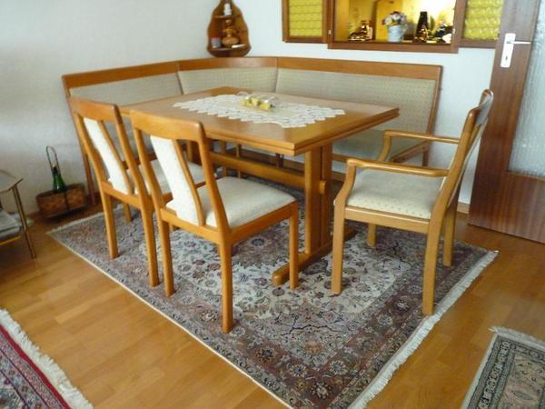 ausziehbarer tisch 130 x 84 cm 226 cm 3 st hle einer mit armlehne eckbank stoffbezug. Black Bedroom Furniture Sets. Home Design Ideas
