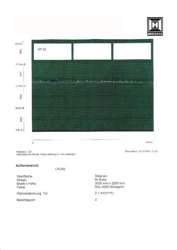 h rmann sektionaltor lpu 40 3000 x 2250 mm moosgr n m sicke mit lichtausschnitt neu in. Black Bedroom Furniture Sets. Home Design Ideas