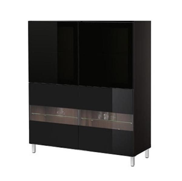 ikea besta vitrine barschrank tv m bel weisser korpus mit. Black Bedroom Furniture Sets. Home Design Ideas