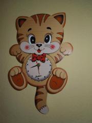 Kinderuhr Katze bewegt