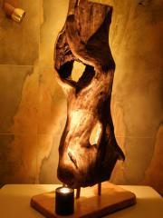 Lampenskulptur, Stehleuchte, Schwemmholzlampe,