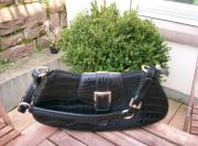 Leder- Handtasche schwarz