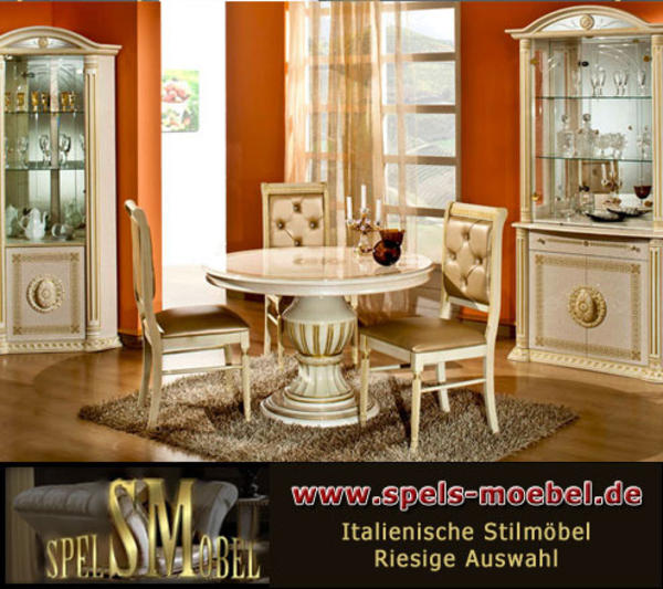 luxus m bel essgruppe wohnzimmer rossella beige gold hochglanz italienische klassische stilm bel. Black Bedroom Furniture Sets. Home Design Ideas