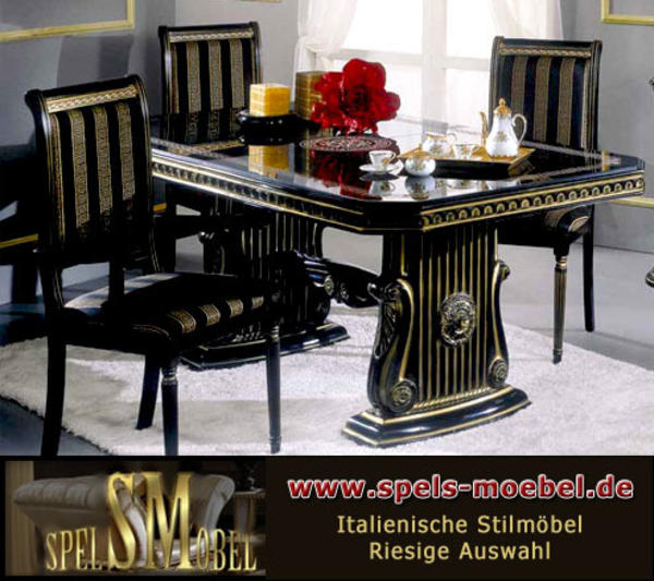 luxus m bel esszimmer wohnzimmer rossella schwarz gold hochglanz italienische klassische. Black Bedroom Furniture Sets. Home Design Ideas