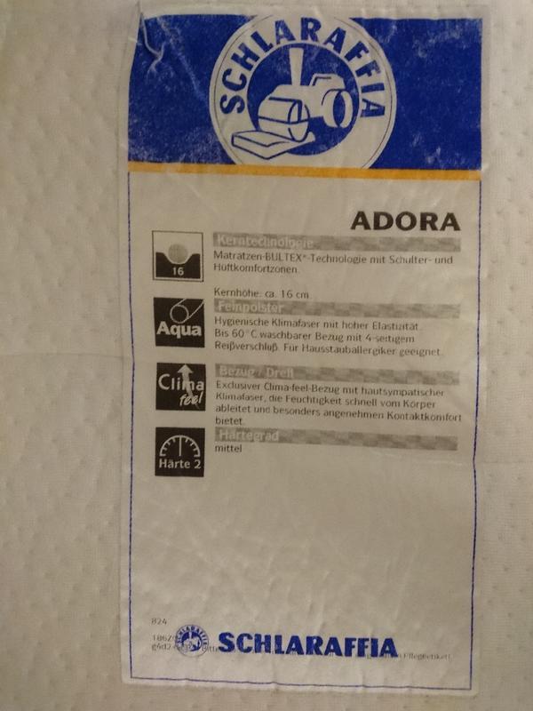 matratze 90x200 cm schlaraffia adora h rtegrad mittel in unterschlei heim matratzen rost. Black Bedroom Furniture Sets. Home Design Ideas