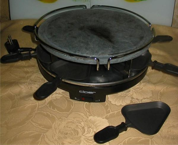 raclette grill hei er stein von cloer 1200 w 8 sch lchen in kronweiler k chenherde grill. Black Bedroom Furniture Sets. Home Design Ideas