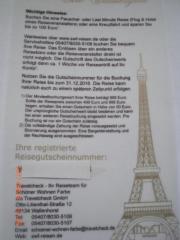 Reisegutschein - Travelcheck Urlaubsgeld -