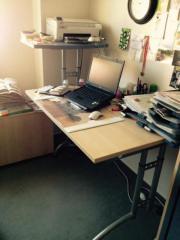 Schreibtischanlage in Buche (