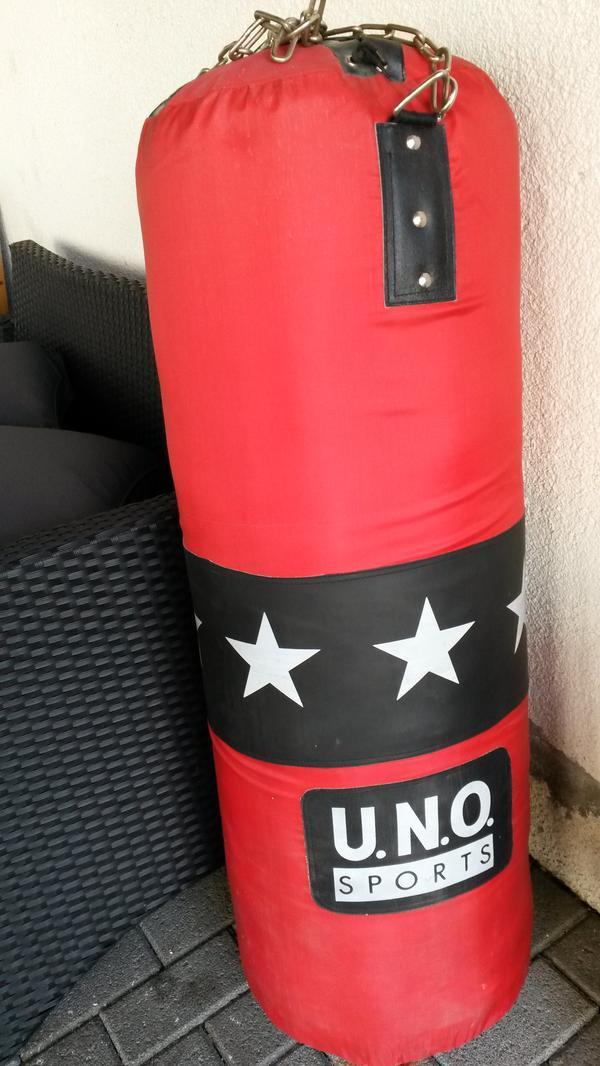39 u n o sport 39 boxsack mit halterung und handschuhe in raunheim fitness bodybuilding kaufen. Black Bedroom Furniture Sets. Home Design Ideas