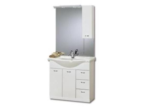 Breite 85 cm, 2 Türen  3 Schubladen, Weiß Der Waschplatz Inka