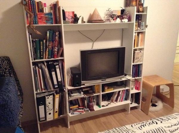 Ein wohnwand weiss im guten zustand zum spitzenpreis for Wohnwand 150 cm