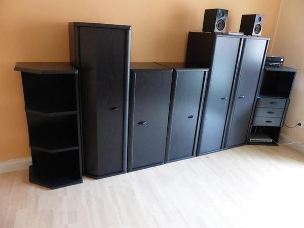 wohnzimmer m bel wohnzimmerschrank wohnzimmer schr nke g stezimmer arbeitszimmer schwarz in. Black Bedroom Furniture Sets. Home Design Ideas