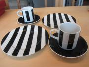 2 Kaffeegedecke schwarz weiss
