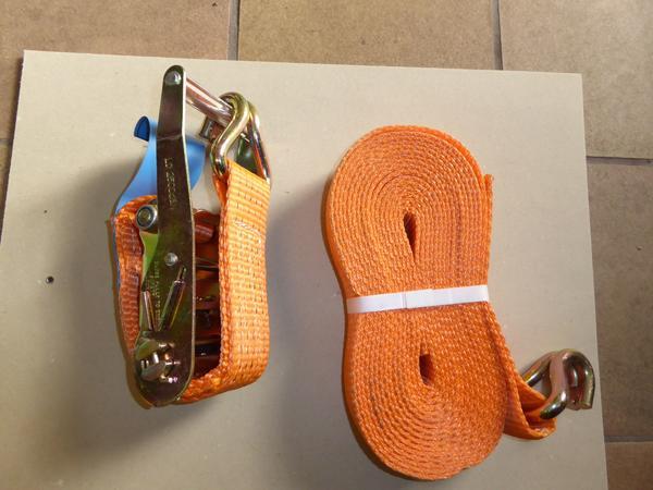 2 Paar Spanngurte, Zurrgurte, Ratschengurte, je zweiteilig, - Viernheim - originalverpackt, orange, 8 m, 5 Tonnen, zusammen 19 EUR, einzeln 10 EUR, - Viernheim