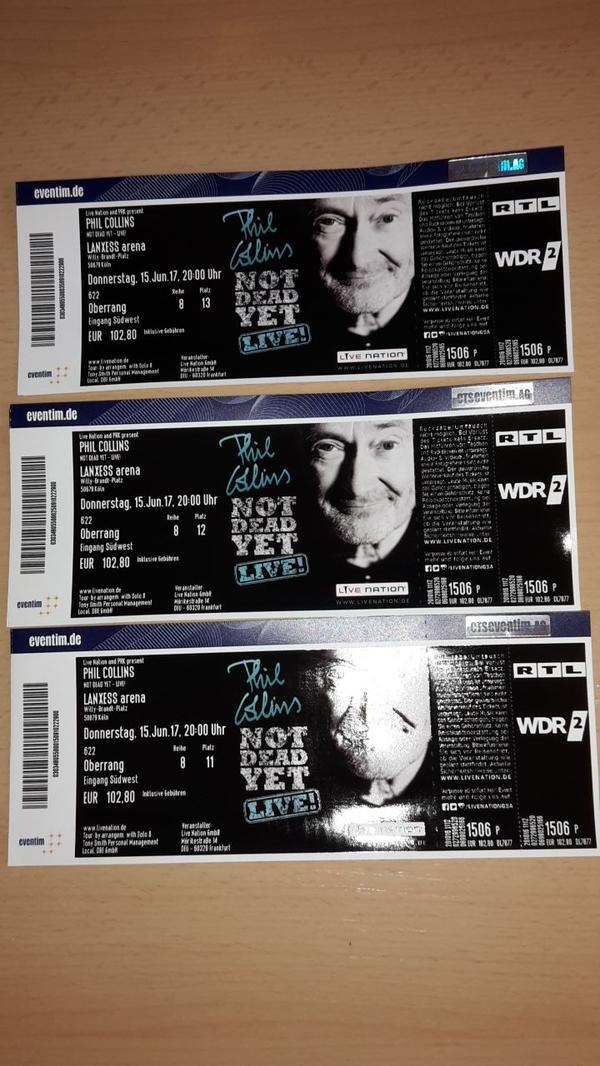 3x PHIL COLLINS 15. 6. 17 KÖLN Oberrang nebeneinander Reihe 8 TOP PLÄTZE - München Au-haidhausen - 3x PHIL COLLINS 15.6.17 KÖLN, Lanxess Arena, Oberrang nebeneinander Reihe 8 TOP PLÄTZEVersand per Einschreiben - München Au-haidhausen