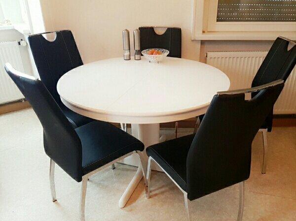 5 edle schwarze stühle im set esszimmer in stuttgart, Esszimmer dekoo