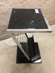 Beistelltisch mit schwarzer Glasplatte Chrom