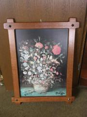 Bild Blumen Bilderrahmen Holzrahmen 70er