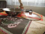 Edelstahl- Wok- Pfanne mit Glasdeckel