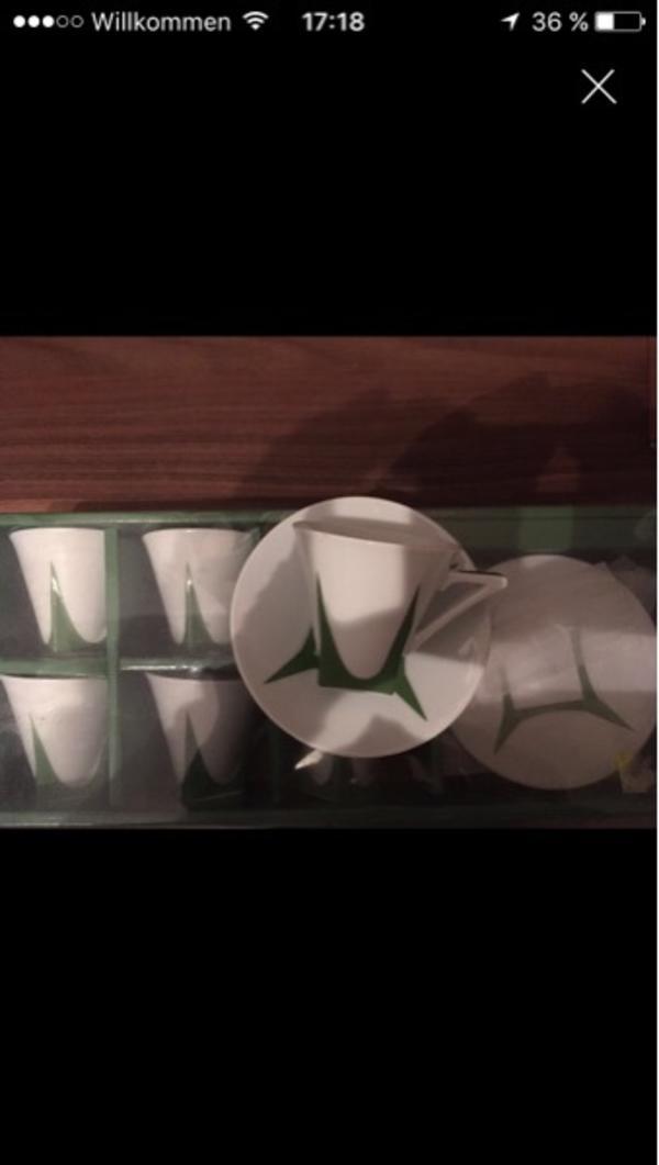 Espresso Tassen - Pfungstadt - Stylische Espresso Tassen in weiß mit grünem Muster.Neu original verpackt, Prei VB nur selbst Abholer. - Pfungstadt