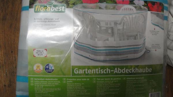 Gartentisch - Abdeckhaube - Ludwigshafen Oppau - 1 x Gartentisch Abdeckhaube neu Original Verpackt Für runde Gartentische bis Durchmesser 160 cm von Florabest. 1xAufbewahrungstasche für 4 Stuhlauflagen 125x50x32 cm neu Originalckt. Je 1 EUR - Ludwigshafen Oppau
