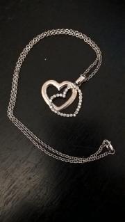 Halskette 925 silber mit Doppel-Herz
