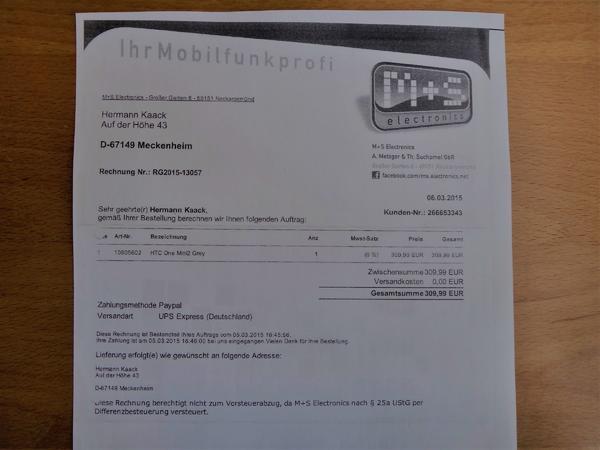 HTC One Mini2 Grey, 2 Jahre alt, voll funktionsfähig, mit Lederhülle zu verkaufen - Meckenheim - HTC One Mini2 Grey, guter Zustand, mit passender Lederhülle und Ladegerät zu verkaufen. Das Gerät wurde am 06.03.2015 zu einem Preis von 310 EUR gekauft und hat kleine Gebrauchsspuren an 3 Ecken des Alu-Gehäuses. Der Akku wurde im März 2 - Meckenheim