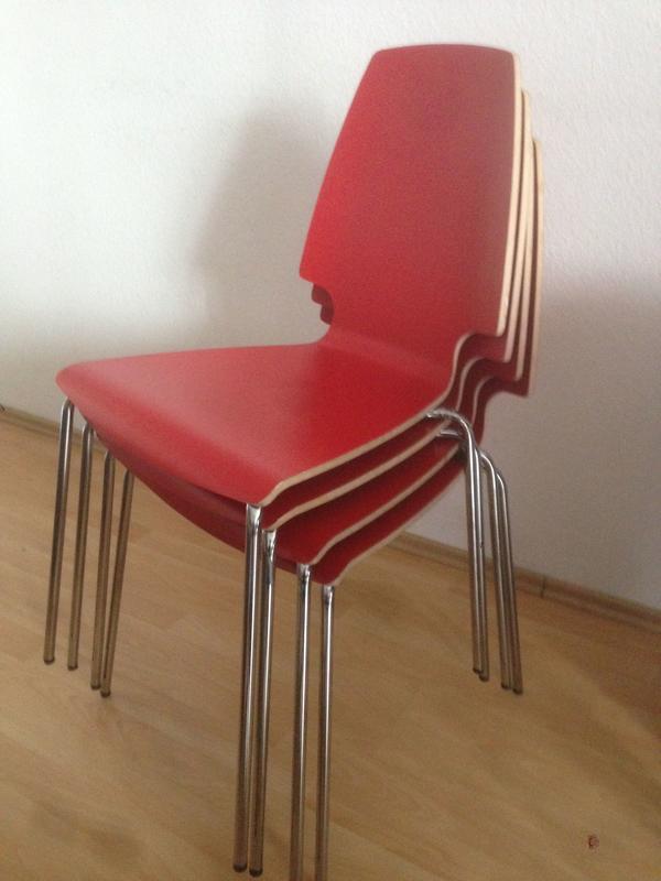12 06 17 sonstige ikea 4x vilmar stuhl rot verchromt 4x vilmar stuhl