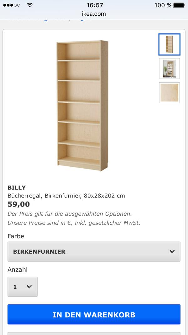 billy b cherregal neu und gebraucht kaufen bei. Black Bedroom Furniture Sets. Home Design Ideas