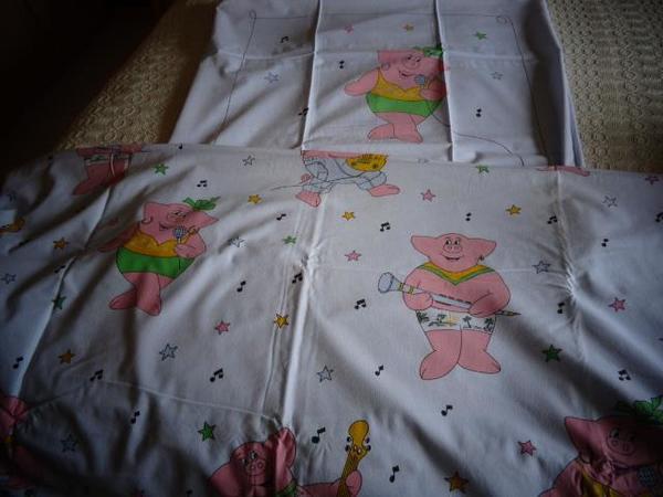 Kinderbettwäsche musizierende Schweinchen 80 80