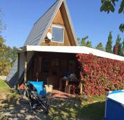 Kleingarten mit Finnhütte