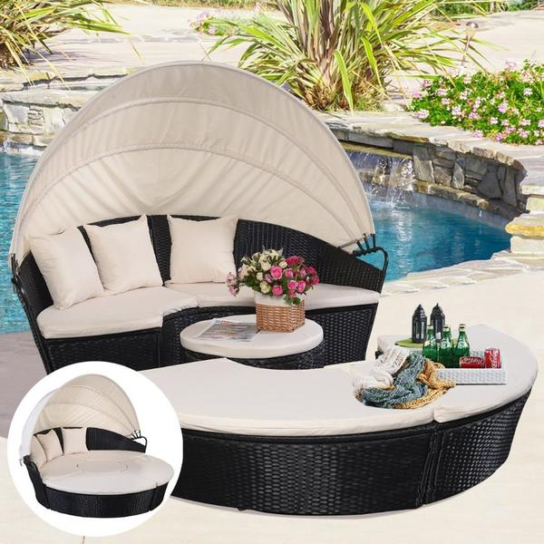 liegeinsel insel lounge set garten m bel garten balkon lounge sitzgruppe garnitur bett liege in. Black Bedroom Furniture Sets. Home Design Ideas