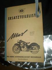 NSU - MAX - Ersatzteilbuch