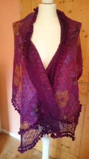 Schal aus Wolle lila ocker