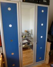 Schlafzimmerschrank (Blau/ silber)