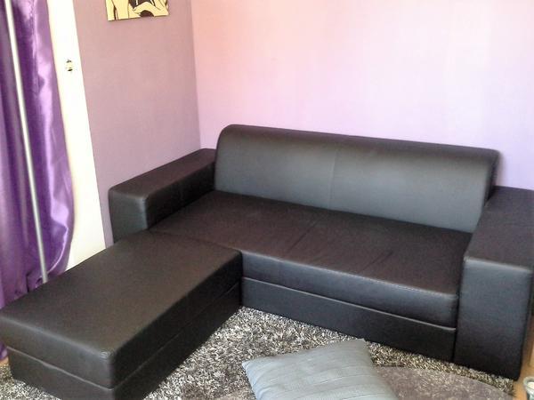 schwarze couch mit hocker zum ecksofa in münchen - polster, sessel, Hause deko