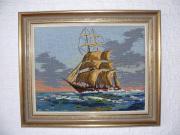 Segelschiff, Gobelin Stickbild,